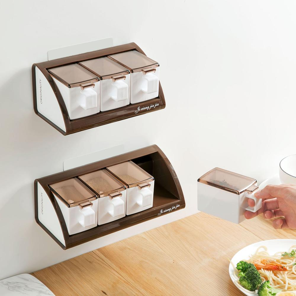 Wall Mounted Spice Jar Container Salt Pepper Can Seasoning Box Salt Sugar Pot Spice Organizer Storage Boxes Kitchen Accessories