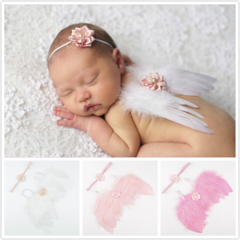 Angel Wings Feather Wings Baby Girl Flower Pearl Headband Photo Shoot Hair Accessories For Newborn Photography Props 0-4 Months