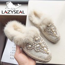 LazySeal Mules Warm Winter Real Fur Women Shoes Bling Crystal Pearl Slides Flat Heel Lazy Cane Women String Bead Shoes For Women