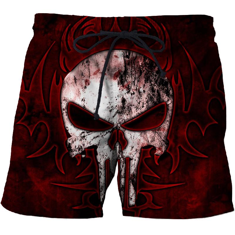 Punk Wind Skull 3D Beach Shorts Men's Quick-drying Swimwear Comfortable Sports Shorts Street Funny Funny Print Shorts
