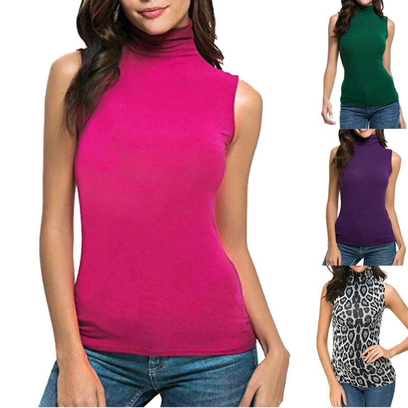 Women Ladies High Neck Sleeveless Solid Color Fashion Basic Classic Tank Top Vest Casual Loose T-Shirt image