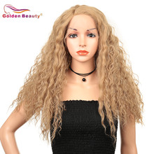 Synthetic Lace Front Wigs For Women Long  Kinky Curly Wig Heat Resistant  With Side Part Blonde Golden Beauty