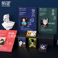 Inspiration Gallery series van gogh Metal badge holder Kawaii Rose Little Fox Stamp Decorative badge