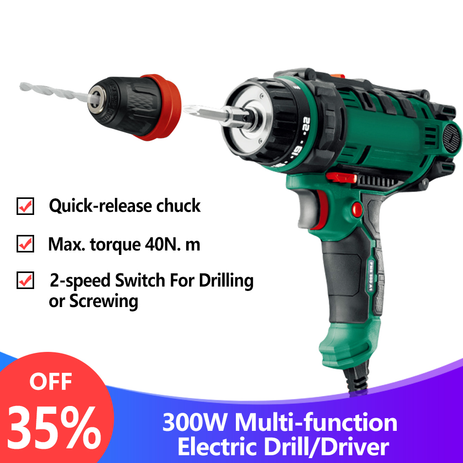 40N m 300W Electric Power Drill Screwdriver 2-speed Torque Driver Handheld Impact Drill Tool with Quick-release Chuck Drill Bits