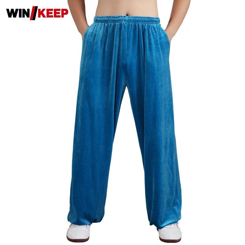 Men Women Winter Warm Velvet Outdoor Wushu Training Long Pants Wing Chun Elastic Waist Loose Fit Taichi Martial Arts Sport Pants