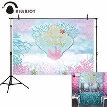 Allenjoy 写真の背景マーメイドシェル海底サンゴ妖精物語夢のような子供の誕生日フォト photocall photobooth は