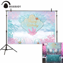 Allenjoy photography backdrop Mermaid shell seabed coral fairy tale dreamy child birthday photo photocall photobooth shoots