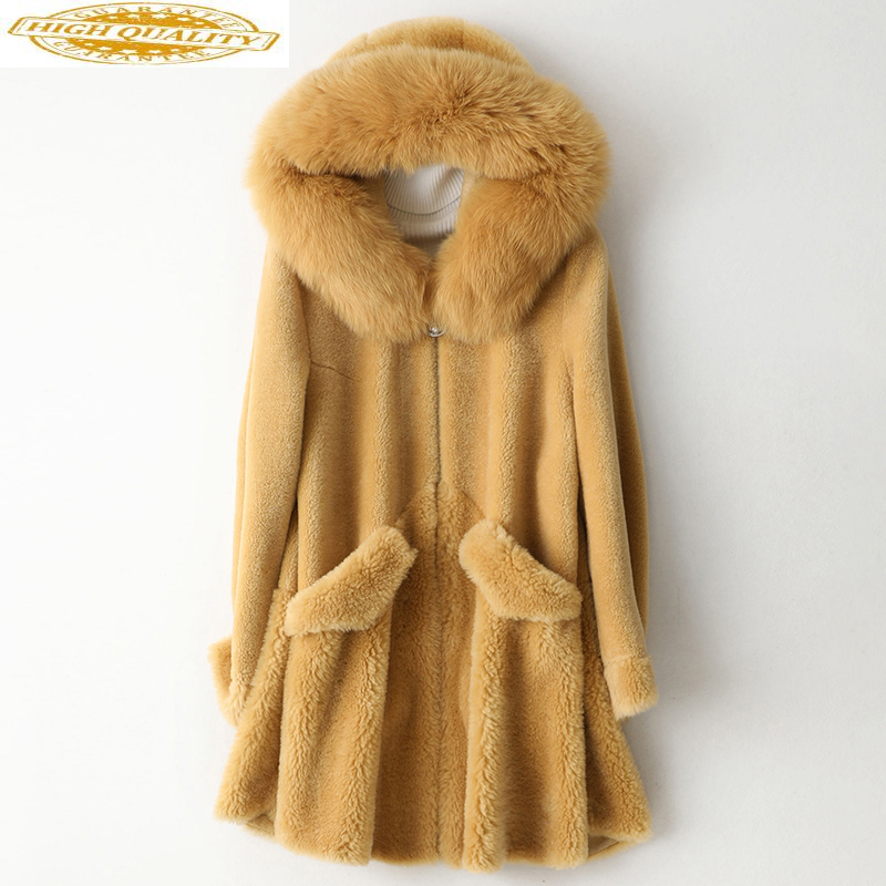 Real Fur Coat Female Sheep Shearling Jacket Winter Coat Women Clothes 2019 Fox Fur Collar 100% Wool Coats Long Jacket MY