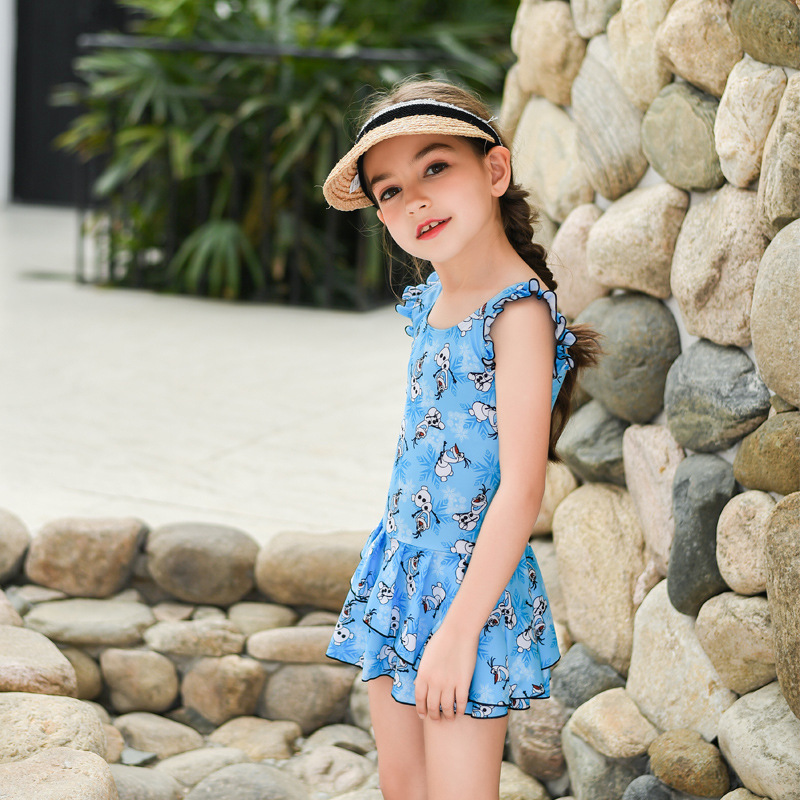 New Style KID'S Swimwear Women's Big Kid One-piece Swimming Suit Frilled Princess Dress Boxers Beach Hot Springs Seaside Swimwea
