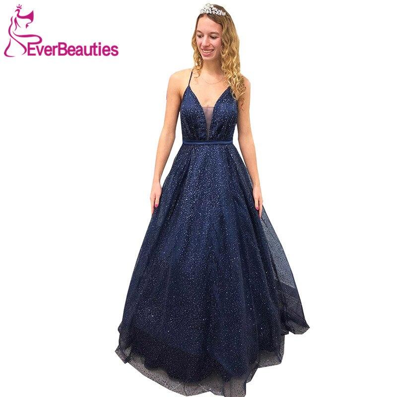 Robe De Soiree Sparkly Shiny Sequins   Evening     Dress   V-Neck Prom Party   Dresses   2019 Spaghetti Straps Abiye Gece Elbisesi