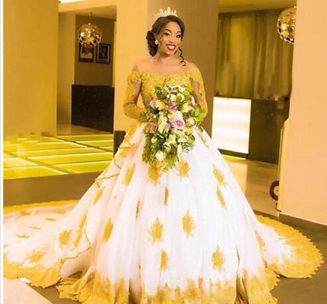 Элегантное золотистое и белое Африканское свадебное платье с
