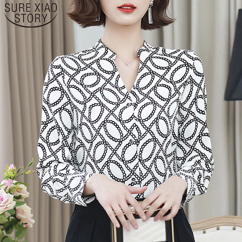 Sexy V-neck Office Lady Blouse Korean Style Women Fashion Long Sleeve Print Shirt Women  2020 Spring New Arrival Tops 8214 50
