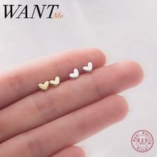 WANTME – Mini boucles d'oreilles en forme de cœur pour femmes, bijoux tendance minimaliste en argent Sterling 100% véritable, cadeau idéal pour étudiant et adolescent, 925