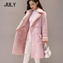JULY Winter Woman Shearling Coats Faux Suede Leather Jackets Plus Size Loose Coat Medium Long Lambs Wool  size XS-2XL