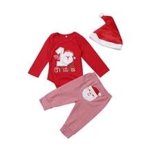 Baby Outfit Pants Romper Christmas Newborn My First 0-12-Months Warm Red 3pcs-Set Santa-Hat
