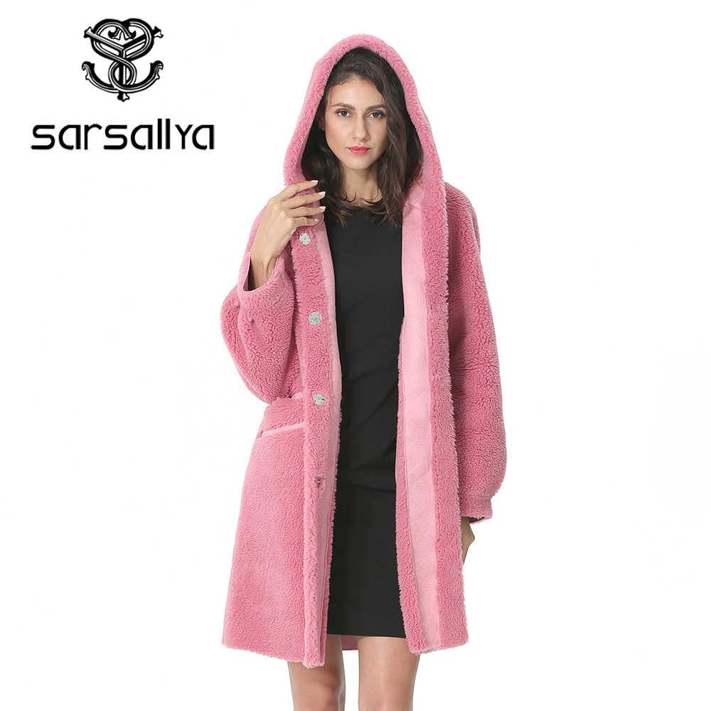 2019 zimowy długi płaszcz ze sztucznego futra kobiet różowy