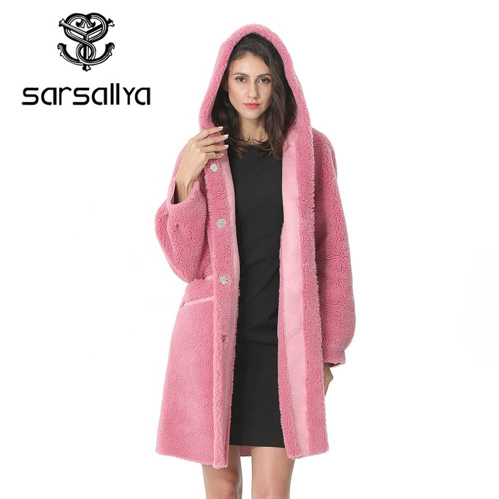 Women Wool Coat Winter Female Long Coat Hood Autumn Woolen Blend Peacoat Girls Warm Cashmere Coats Ladies Pink Fall 2019 Elegant
