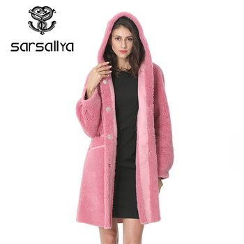 Women Wool Coat Winter Female Long Coat Hood Autumn Woolen Blend Peacoat Girls Warm Cashmere Coats Ladies Pink Fall 2019 Elegant