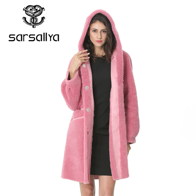 Women Wool Coat Winter Female Long Coat Hood Autumn Woolen Blend Peacoat Girls Warm Cashmere Coats Ladies Pink Fall 2020 Elegant