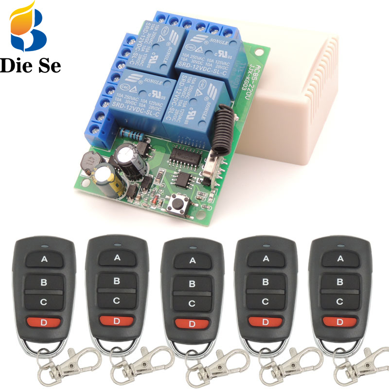 433MHz control remoto inalámbrico Universal AC 220V 4CH rf relé y transmisor remoto garaje/LED/luz/ interruptor de Control de ventilador/electrodoméstico 220V RGB controlador Bluetooth LED tira de Control para teléfono Bluetooth APP Remote Control RGB 5050 LED tira de Control