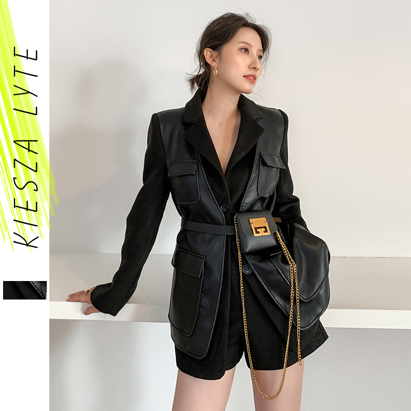 Black Blazer For Woman 2020 Spring New Waistband Slim Thick False Two Piece Patchwork Pu Jacket