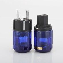 1 paar Rhodium Plated P 037E EU Schuko plug C 037 IEC Connector voor Hifi audio DIY Schuko netsnoer kabel