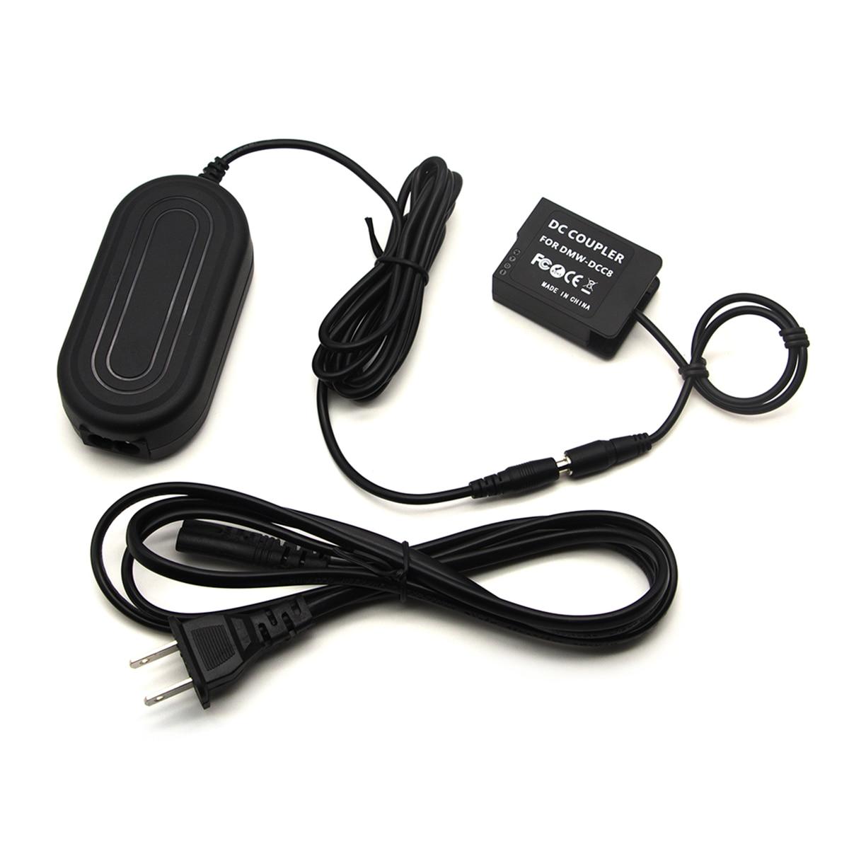 Adaptador de corriente alterna + cargador acoplador de batería simulada BLC12 para Panasonic DMC FZ2500 FZ300 G7 G6 G85 GX8 reemplazar DMW-AC8 DMW DCC8