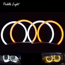 цена на White&Amber Dual color Cotton LED Angel eyes kit halo ring DRL Turn signal light for BMW E46 4Door Sedan non Projector 1998-2006