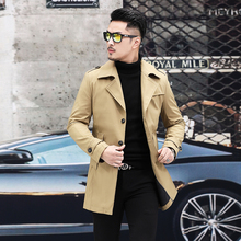 Men 2019 New Autumn Business Casual Trench Coat Man Fashion Single Breasted Turn-down Collar Jackets Male Long Windbreaker Coat red classic collar single breasted design tweed trench coat