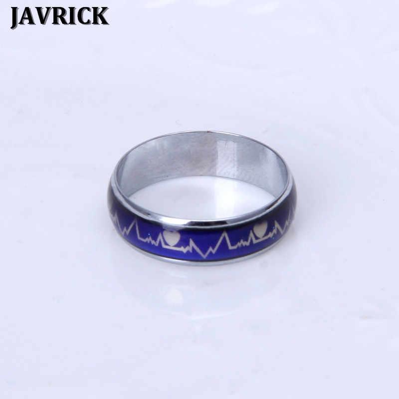 1 PC JAVRICK Amantes Anéis de Dedo Batimentos Cardíacos ECG Mudança de Temperatura de Cor do Anel de Humor Anéis de Casamento Magia
