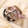 Simulated Pearl Bumble Bee Headbands Women's Hair Accessories Baroque Vintage Crystal Hairband Female Flower Pearls Headdress