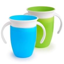 360 тренировочная чашка с двойной ручкой с откидной крышкой, безопасная герметичная чашка для кормления, детская бутылка для воды, 2 шт., зеленый/синий