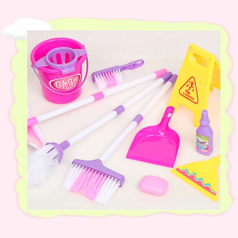 Cleaning Play Set Kids Role Play 6 Piece  Broom Mop Bucket Dustpan R7RB
