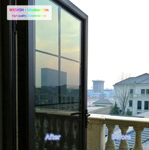 WXSHSH One Way Mirror Daytime Privacy Window Solar Film Self Adhesive Anti-UV Heat Control Reflective Glass Tint Black-Silver