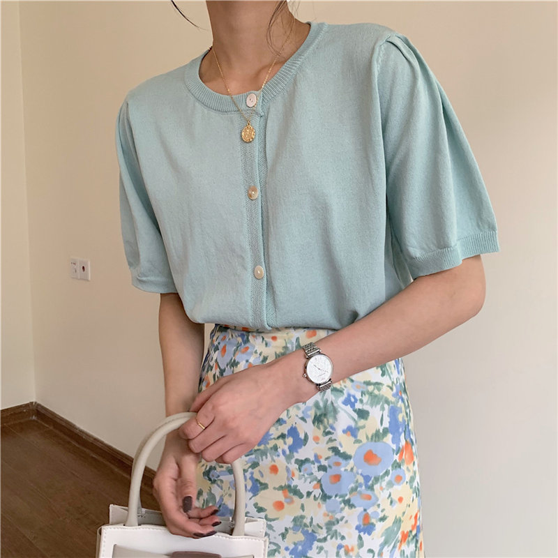 HziriP Summer 2020 New Casual Shell Button Knitting Thin Tops Solid Chic All Match Women Loose Hot Fairy Short Sleeve T-Shirts