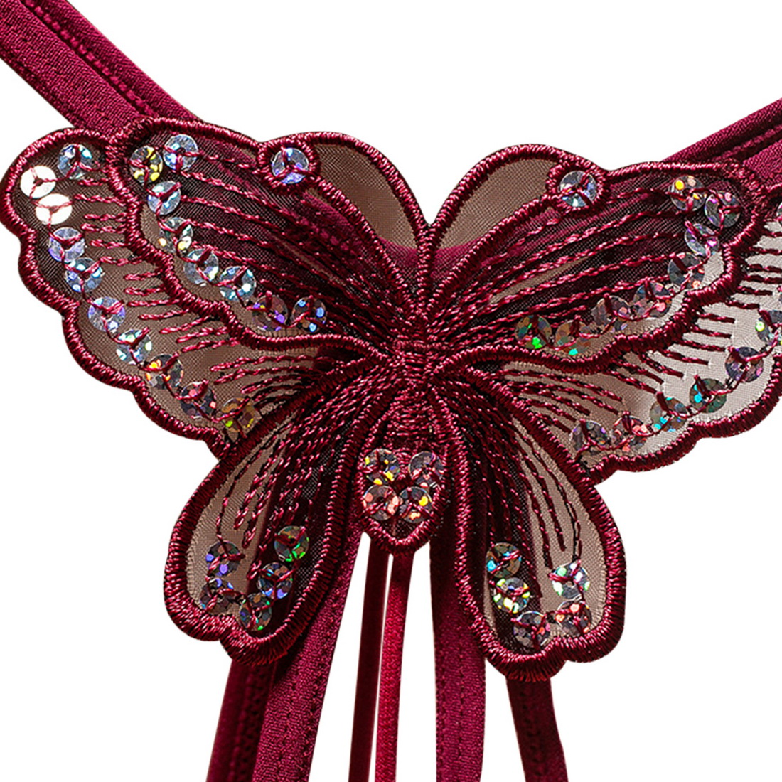 Hc964753343334946aa8961fa6e13db31f Oeak 2021 New Sequins Embroidery Butterfly Pearl Panties Sexy Lingerie Sex Thongs Women's Erotic Open Crotch Underwear