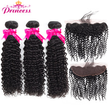 Kinky-Curly-Bundles Closure Human-Hair Frontal Beautiful Princess Natural-Black Malaysian