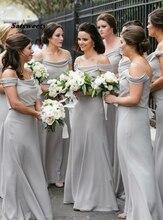 Sexy Bridesmaid Dresses Vestido De Festa Casamento Light Gray Chiffon Spaghetti Straps Long Dress