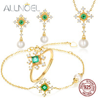 ALLNOEL Solid 925 Sterling Silver Freshwater Pearl Sets Natural Emerald Earrings Ring Necklace Bracelet Gemstone Find Jewelry