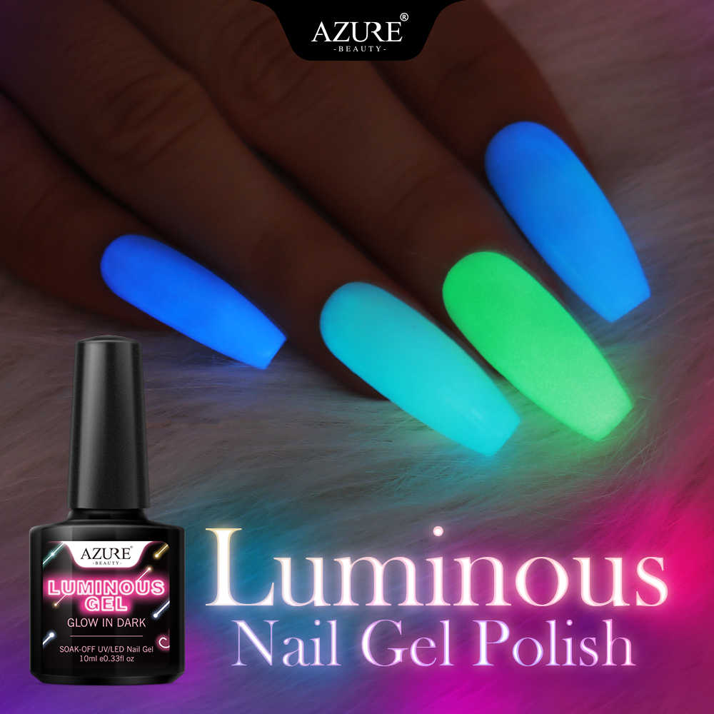 Azure Beauty Luminous Gel Nail Polish Neon Dalam Gelap LED Gel Nail Lacquer Rendam Off Semi Permanen Chameleon Gel Varnish