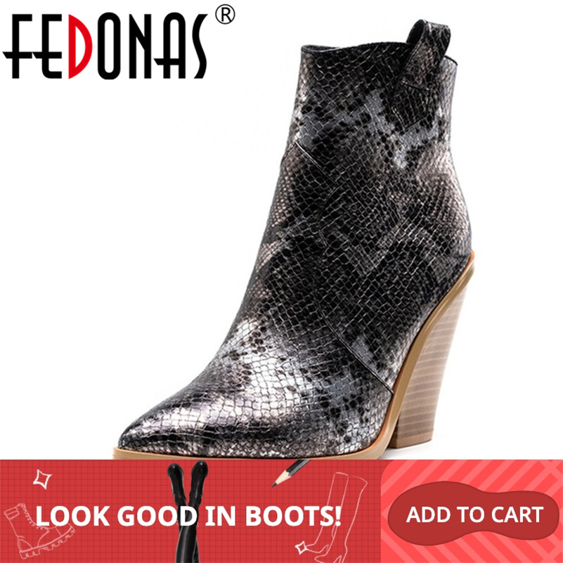 FEDONAS Winter Female Plus Size Chunky Heels Party Night Club Shoes Woman Brand Women Leather Ankle Boots Classic Western Boots-in Ankle Boots from Shoes
