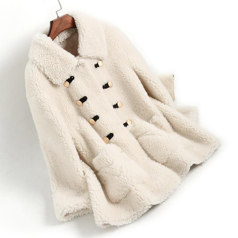 Real Fur Coat Autumn Winter Coat Women Clothes 2020 Wool Jacket Streetwear Korean Vintage Suede Lining Sheep Shearling ZT3352