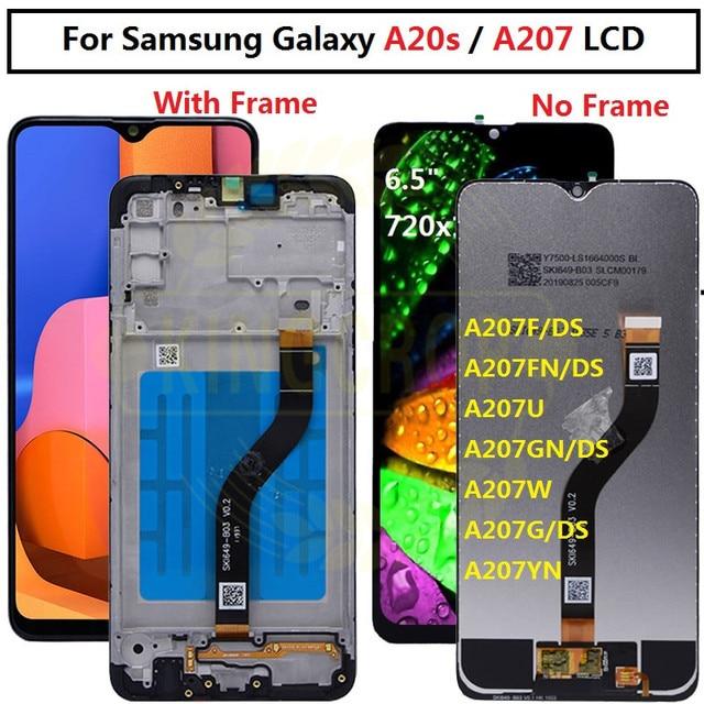 Pour Samsung galaxy A20s lcd numériseur écran tactile pour Samsung A207F/DS A207FN A207U A207W A207G/DS lcd avec cadre