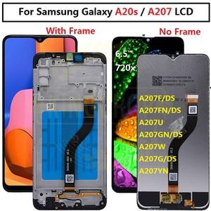 Image 1 - Voor Samsung Galaxy A20s Lcd Digitizer Scherm Touch Screen Voor Samsung A207F/Ds A207FN A207U A207W A207G/Ds lcd Met Frame
