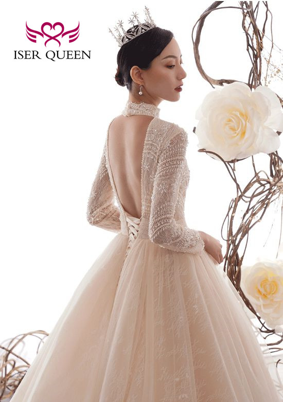 Long Sleeves High Neck Elegant Lace Tulle Wedding Dress A Line Backless Bride Dress Europe Design Wedding Gowns WX0074