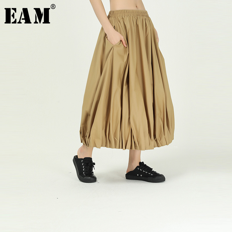 [EAM] High Elastic Waist Khaki Pleated Stitch Temperament Bud Half-body Skirt Women Fashion Tide New Spring Autumn 2020 1R839