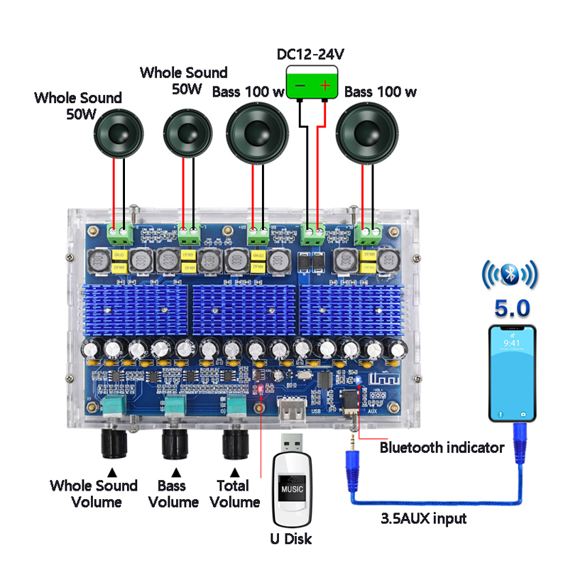 TDA3116D2 Bluetooth 5.0 Digital Amplifier Board Four-Channel 2*100W Dual Bass 2*50W Dual Stereo Audio Amplifiers With Tone Sound