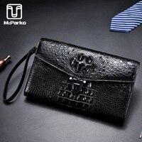 McParko Crocodile Wallet Clutch Bag Genuine Leather Wallet Men Luxury Brand Hand Clutches Businessman Card Holder Wallet Alligator Purse Handbag