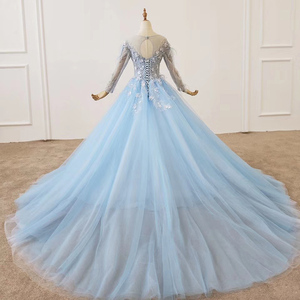 Image 3 - HTL1203 סיום כחול שמלת o צוואר ארוך שרוול נוצת על כתף ומותנים אור טול חצאית שמלת ערב платье выпускное