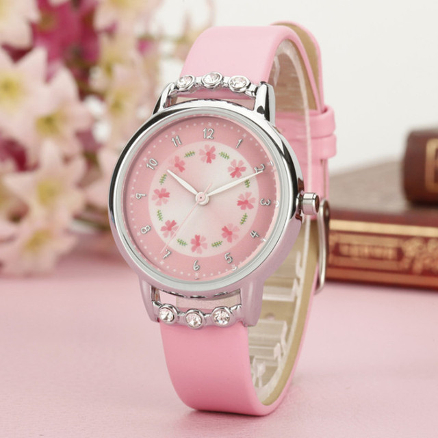 New Watch Women Kids Children Girls Ladies Quartz Diamond Wristwatches Rosette Flower Watches Montre Clock